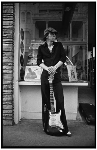 Stevie Vaughan out front of OK Records on Sixth Street, April 1978