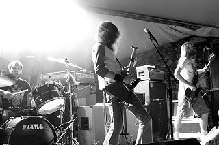 For Whom the Bell Tolls: (l-r) the Sword's Trivett Wingo, J.D. Cronise, and Bryan Richie, Oct. 4, 2008, Stubb's
