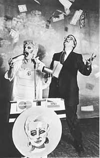 Wiley as Tammy Faye Bakker, with Colom Keating as Jerry Falwell in <i>Tammy!</i>