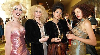 (L=r) Rachel Mykles, Allison Barr, Jinny Kwan, and Indigo Rael in flawless red carpet attire for Zach Theatre's Red Hot & Soul