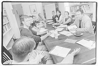Denis Johnson (far right) teaches a class at the Michener Center for Writers