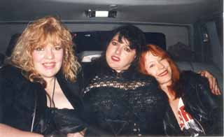 In the limo at SXSW '93: l-r Margaret, Candye Kane, Pamela Des Barres