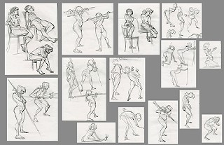 Sketches by Paul Richards, from the first Naked Lunch session