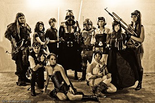 Meredith Placko (as Princess Leia, front left) and fellow cosplayers from Outland Armour mixing steampunk and <i>Star Wars.</i>