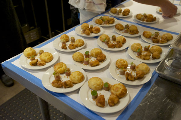 Each dinner begins with an amuse bouche - gougere, fois gras,