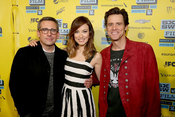Steve Carell, Olivia Wilde and Jim Carrey at The Incredible Burt Wonderstone red carpet at the Paramount