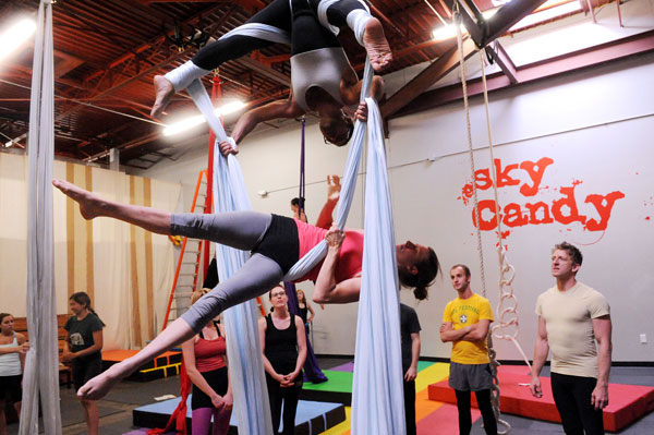Working the silks at Sky Candy
