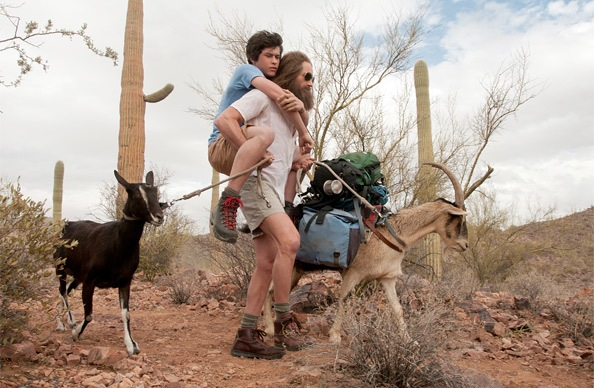 Graham Phillips (on piggyback) and David Duchovny in 'Goats'