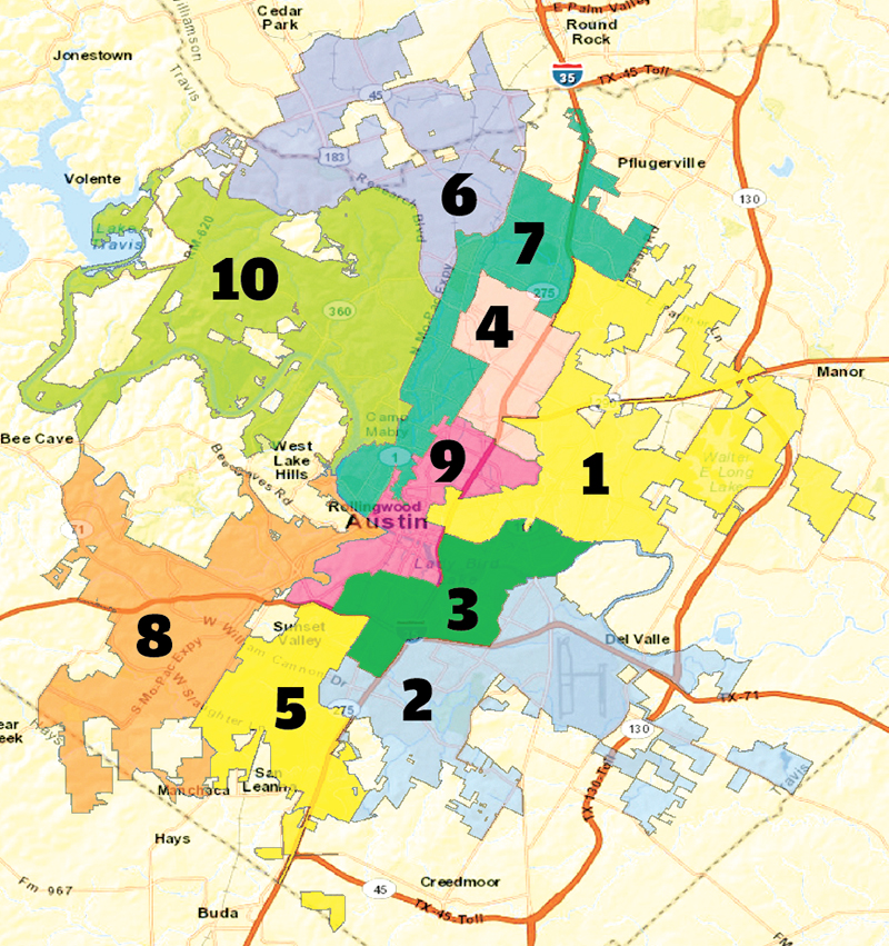 Austin District Map Council Districts: Best Laid Plan Gets Bumpy: Map drawing plans