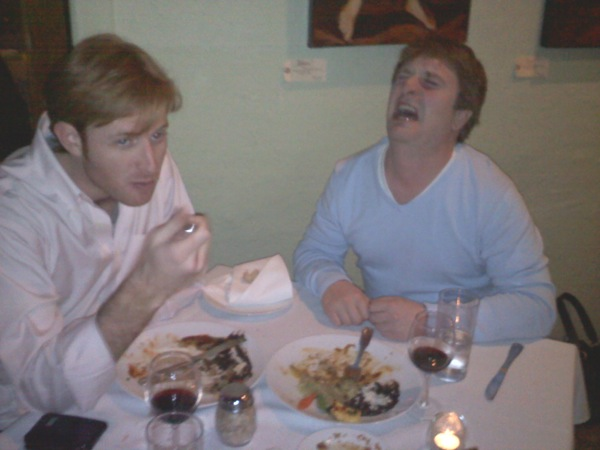 Two dudes dining. Author not pictured. Subject getting emotional on right.