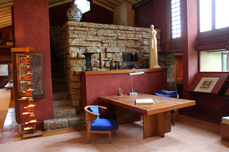 Stylish But Simple Frank Lloyd Wright S Personal Office At Taliesin His Home In Spring Green Reflects The Architect Obsession With Designing Every