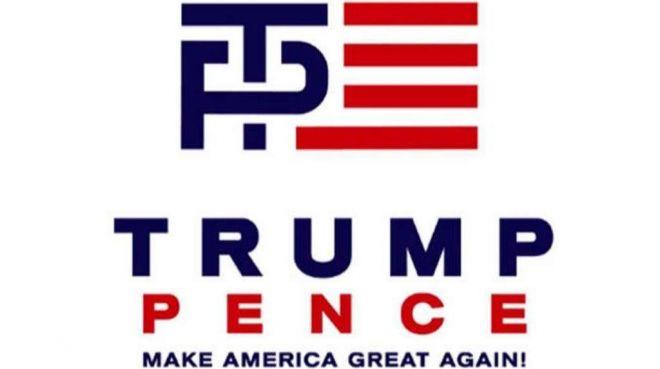Original Trump/Pence campaign logo, withdrawn after widespread mockery ...