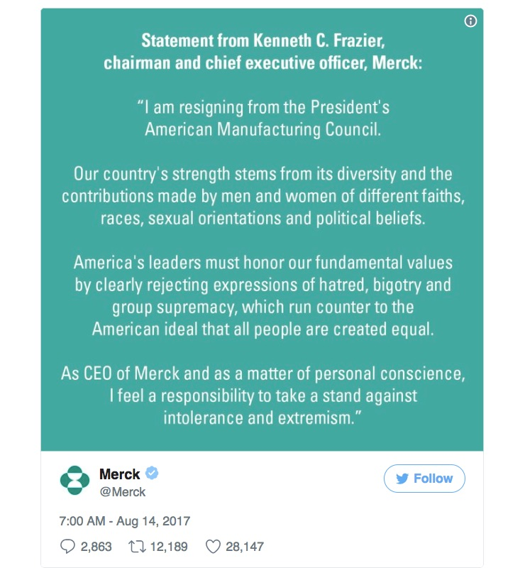 Merck, Under Armour CEOs quit Donald Trump advisory panel over rally response