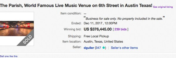 a screen shot of the ebay auction for the parish as it closed