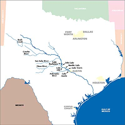 Big River How Healthy Is Austins Lifeline News The Austin - Texas rivers and lakes map