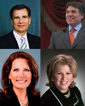 The HPV debate players (clockwise, from top left): Merck lobbyist Mike Toomey, Gov. Rick Perry, Sen. Jane Nelson, US Rep. Michele Bachmann