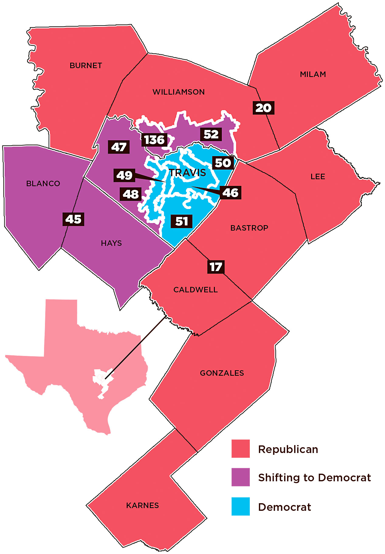 A Decade Of Democratic Gains In Central Texas Turning Red To