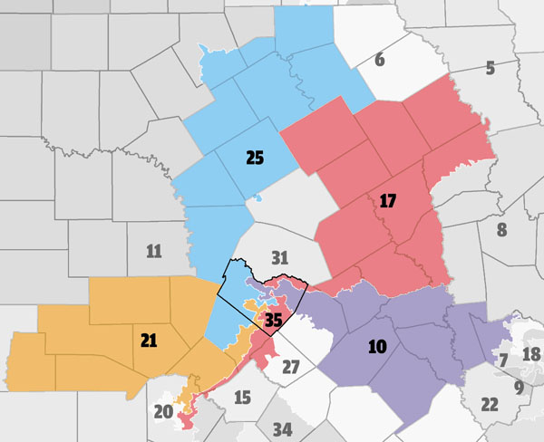 Riding The Pinwheel The GOP Redraws The Map Of Texas Brazenly - District map of texas for us house of representatives