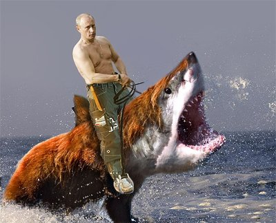 Who just saved Russia from objective fact-based media coverage? This guy (shown here astride a bearshark).