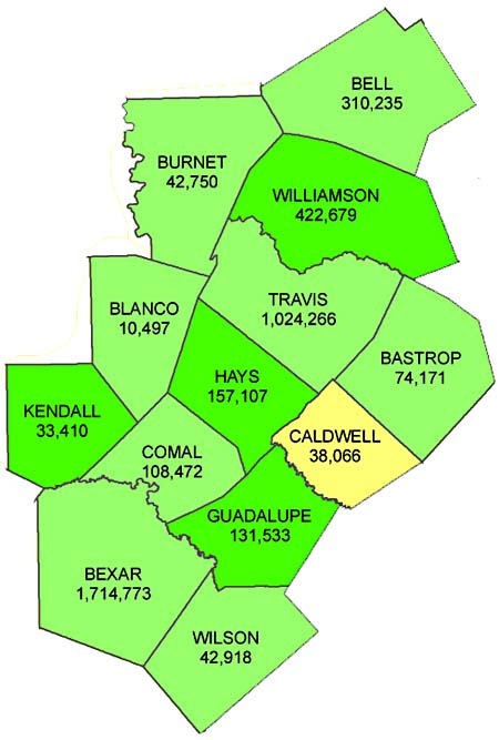 LegeLand Redistricting Takes Shape Blockbyblock Census Maps - Map of central texas