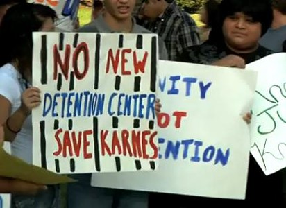 Footage from last week's capitol demo against new detention center