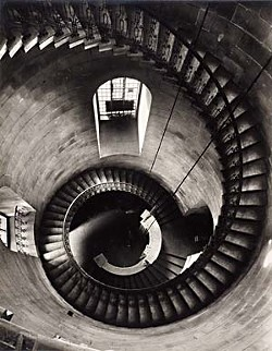 <i>Spiral Staircase at St. Paul's Cathedral: Looking Down</i>, 1943, by Helmut Gernsheim