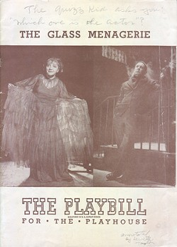 Playbill for Williams' <i>The Glass Menagerie</i>, signed by Laurette Taylor, the original Amanda Wingfield