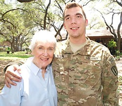 Pfc. Tyler Moser on leave from Afghanistan, with his adoring grandmother Phyllis Stegall
