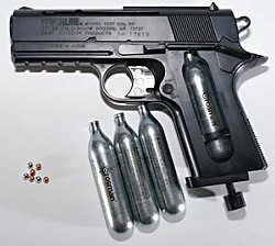 A BB gun pistol like this one was used in a 1998 high school prank.