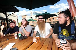 (l-r) James Moody, Michael Schrader, Allen Demling, and Miletus Callahan-Barile of the Austin Facial Hair Club