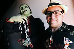 Steve Busti (r), owner of the Museum of the Weird, and friend