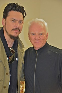 Jesse Dayton (l)and Malcolm McDowell on the set of Zombex