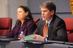 Superintendent Meria Carstarphen (l) and Mark Williams at a December 2011 AISD board meeting