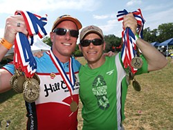 Andy Wisner and retiring Hill Country Ride for AIDS Ride Director David C. Smith (l-r) at last weekend's big ride – David leaves behind an amazing legacy of a strong and caring community and millions of dollars raised for local charities. Thank you, David!