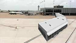 This is a rendering of a proposed temporary terminal at ABIA, which City Council is expected to consider on June 28.