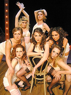 Right this way – your table's waiting:  Leslie Hollingsworth-Vander Gheynst as Sally Bowles (center) and the Kit Kat ladies