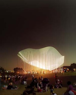 The Poppy, the proposed bandshell for concerts in Waterloo Park