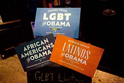Signs of diversity at an LGBT election night party at Rusty's