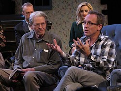 Playwright Del Shores (r) and Wimberley Players Artistic Director John Hood discuss the controversy over the production of <i>Sordid Lives</i>.