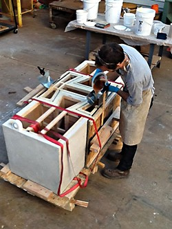 Aaron Meyers working on <i>Dovetail</i>