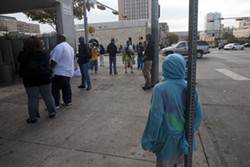 Outside the Austin Resource  Center for the Homeless on East Seventh Street
