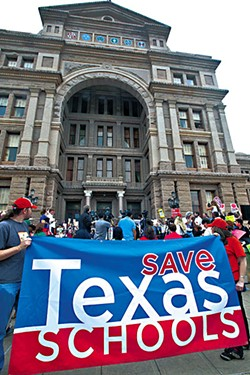 Public education supporters Save Texas Schools rallied at the Capitol in March.