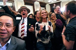 Local Democrats gathered at the Driskill Hotel in November to celebrate a re-election victory for President Obama and (mostly) favorable outcomes for Travis County Democratic candidates and city bond propositions.