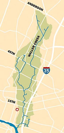 The Waller Creek watershed runs from North Austin's Anderson Lane to Lady Bird Lake.