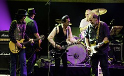 The Rebel Kind: (l-r) Javier Escovedo, Denny DeGorio, Alejandro Escovedo, Rey Washam, and Jon Dee Graham at GrulkeFest, Sept. 8, 2012