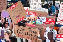 Armed with signs demanding more funding for public schools and and a revamp of high-stakes standardized testing, thousands of people from across the state descended on Austin on Feb. 23 for a Save Texas Schools march and rally.