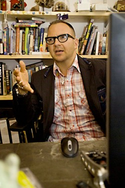 Cory Doctorow in his office in London