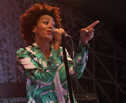 SXSW perennial favorite Texas songbird Solange revved up the crowd at the Fader/Converse Fort main stage.