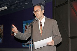 Sound designer Buzz Moran, accepting the award for his work on <i>All My Sons</i>, <i>spacestation1985</i>, and <i>Under Construction</i>, just before teaching the audience how to bark convincingly