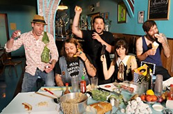 Food Fight (l-r): Tim Bryan of Starlings, TN; Caleb Dawson of Bad Lovers; Gus Baker from Doom Siren; Sue Davis aka DJ Sue; and David Thomas Jones of Watch Out for Rockets (Julia Hungerford not pictured)